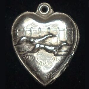 Greyhound Puffy Heart  925 Sterling Silver Pendant